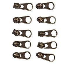 10pcs Bronze Zip Puller/Zipper Pull Sliders Zipper Head Repair Kit for Sewing Clothing Bag