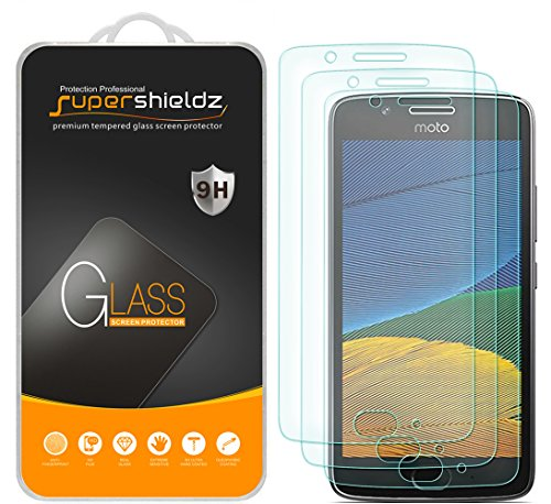 [3-Pack] Supershieldz for Motorola Moto G5 Tempered Glass Screen Protector, Anti-Scratch, Anti-Fingerprint, Bubble Free, Lifetime Replacement Warranty