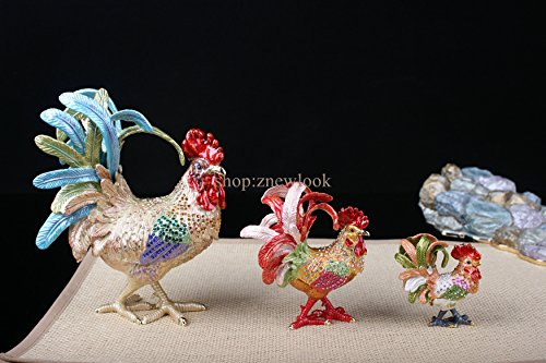Bejeweled Rooster Chicken Statue Figurine Vintage Chicken / Rooster Trinket Jewelry Box (6x7.5CM) by znewlook (Image #1)