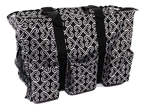 7-Pocket Tote Bag With Zipper (Black Twist) (Tote Bag With Pockets)