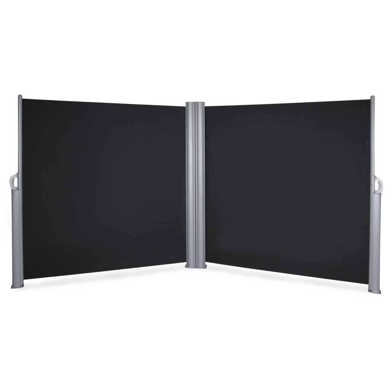 BELLEZE Retractable Double Folding Side Awning Screen Fence Patio Privacy Divider 19.6 x 5.2 ft , Black