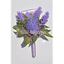 Stunning Artificial Scottish Lilac Thistle and Heather Buttonhole