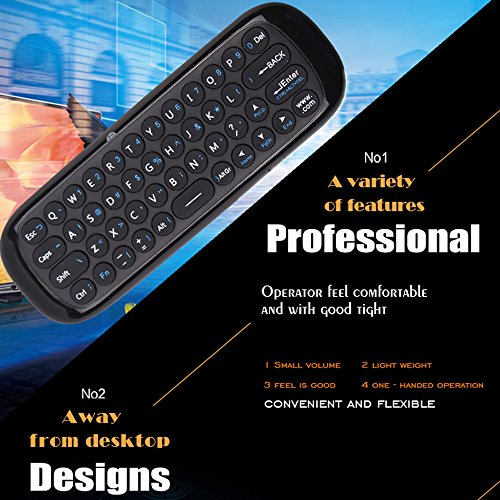 Wechip 2.4G Smart TV Wireless Keyboard Fly Mouse W1 Multifunctional Remote Control for Android TV Box/PC/Smart TV/Projector/HTPC/All-in-one PC/TV (Black)