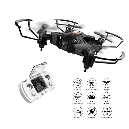 FPV Mini Drone with Camera and Live Video WIFI RC Quadcopter Toy 4CH 6Axles One Key Return Stable Helicopters for Beginners,Black by BIZONOD