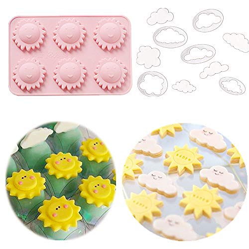 (JeVenis Set of 6 You are my sunshine Party Supplies You are my sunshine Cake Mold You are my Sunshine Cupcake Decoration Sun Mold Cloud Mold)