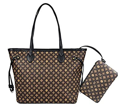 Womens Stylish All-over Signature Pu Leather Top Handle Handbags with Zipper Wallet