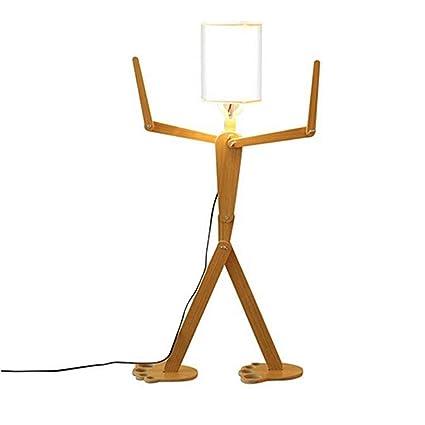 NAN liang Lámpara de pie de madera decorativa moderna ...