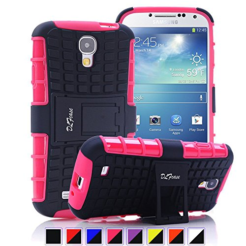 Galaxy S4 Case, [ Shockproof ] Samsung Galaxy S4 Case Heavy Duty Rugged Dual Layer TPU Textured Non Slip Reinforced Polycarbonate Hybrid Case for Samsung Galaxy S4 with Kickstand (Hot Pink) (Samsung Galaxy S4 Case 2 Layer)