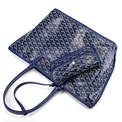 Tote Handbags for Womens Fashion Designer Shopping Shoulder Bag M Size Set with Coin Pouch Wallets PU Vegan Leather (M Blue)