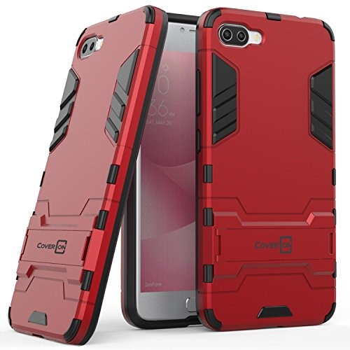 Asus Zenfone 4 Max Case (5.5) ZC554KL, Zenfone 4 Max Pro Case, CoverON Shadow Armor Series Modern Style Slim Hard Hybrid Phone Cover with Kickstand for Asus Zenfone 4 Max/Zenfone 4 Max Pro - Red