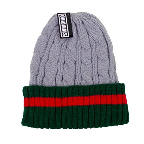 Snow Cuff - Originals Beanie Ribbed Cable Knit Red Green Stripe Cuff Ski Snow Warm Winter Unisex Beany (Heather Grey)
