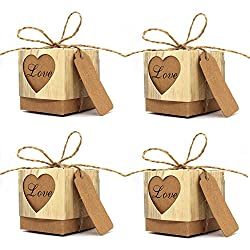 "KEIVA Favor Boxes, 100 Pcs 2""x 2""x 2"" Love Rustic Kraft Candy Boxes With Tags and Burlap Twine for Wedding Favors Party Birthday Baby Shower Decoration"