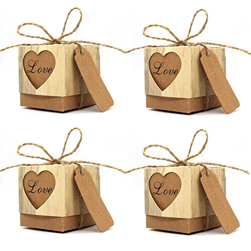 KEIVA Favor Boxes, 100 Pcs 2″x 2″x 2″ Love Rustic Kraft Candy Boxes With Tags and Burlap Twine for Wedding Favors Party Birthday Baby Shower Decoration
