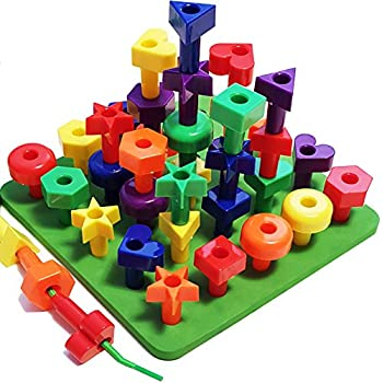 Peg Board Stacking Toddler Toys - Lacing Fine Motor Skills Montessori Toys for 2, 3, 4, 5 Year Old Girls and Boys   Matching Shapes Educational Kids Toy with 36 Pegs, Activity eBook + Travel Backpack