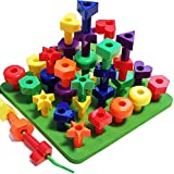 Peg Board Stacking Toddler Toys - Lacing Fine Motor Skills Montessori Toys for 2, 3, 4, 5 Year Old Girls and Boys | Matching Shapes Educational Kids Toy with 36 Pegs, Activity eBook + Travel Backpack