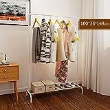 LXLA- Iron Coat Rack Floorstanding Hanger Simple Shelf Bedroom Vertical Organizations Hanger Continental Multifunction Economic Type 100×36×149cm (Color : White)