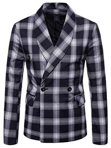 Men's Slim Fit Suits Double Breasted Two Button Casual Plaid Blazer Jacket Coat Outerwear, Navy, US Small/36 = Tag M