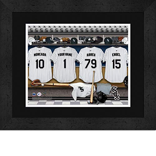 (Chicago White Sox Personalized MLB Baseball Locker Room Jersey Framed Print 14x18 Inches )