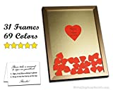Wedding Guest Book Drop in the Top Frame with Wooden or Colored Matboard Hearts