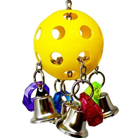 Hapa Parrot Toys Bellpull Birds Cage - Bird Toys for Parrots,Conures,African Grey,Conure Cockatiel,Aviary Including 4 Colors Rings, 4 Bells, 1 Yellow Plastic Balls by Hapa