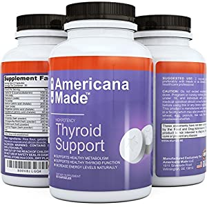 Thyroid Support Supplement Pure High Strength Blend Helps for Effective Weight Loss and Energy Boost #1 Best Thyroid Support Complex Improves Metabolism Levels Natural and Fast Acting Formula 100% Money Back Guarantee by Americana Made