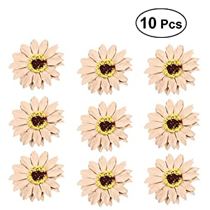 BESTOYARD 10pcs Wedding Party Prom Bride Bridesmaid Bust Flower Handmade Corsage Artificial Sunflower Ornaments(Beige) 89