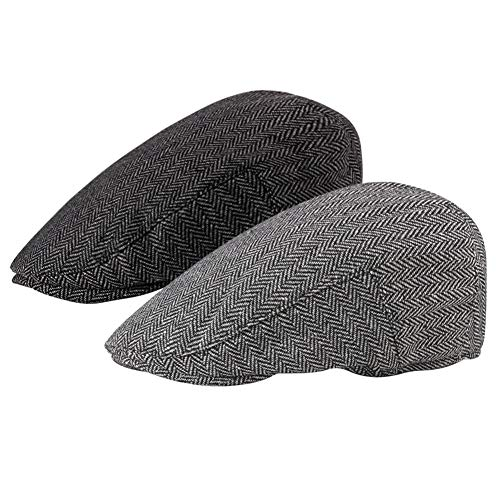 Loritta 2 Pack Mens Flat Cap Herringbone Cotton Ivy Newsboy Hat