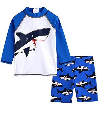 Baby Toddler Boy Swimsuit Kid Rash Guard Swimwear With Swim Hat M (Toddler Bathing Suit Boys)