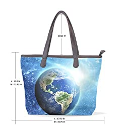 Galaxy Nebula Earth And Stars In Outer Space Universe Women's Fashion Large Tote Shoulder Bag Ladies Handbag