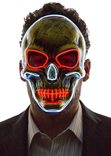 Neon Nightlife Men's Light up Scary Death Skull Mask, Red & White -