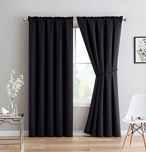 Erica - Premium Rod Pocket Blackout Curtains With Tiebacks - 2 Panels - Total 108 Inch Wide (54 Each Panel) - 84 inch long - Solid Thermal Insulated Draperies (54
