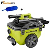 Ryobi 6 Gal. Wet/Dry Vacuum P770 and Toucan City Flexible Static Duster - Battery NOT included