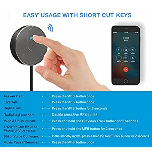 Besign Bluetooth 4.1 Car Kit Hands-Free Wireless Talking, Music Streaming Dongle With 10W Dual Port 2A USB Charger, Magnetic Mounts, for Car with 3.5mm Aux Input Jack