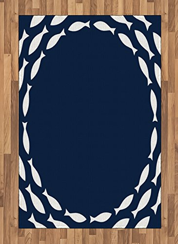 Navy Blue Area Rug by Ambesonne, Ocean Aqua Navy Themed School of Cute Fish Swimming in a Circle Print, Flat Woven Accent Rug for Living Room Bedroom Dining Room, 4 x 6 FT, Navy Blue and White (School Of Fish Rug)