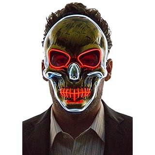 NEON NIGHTLIFE Light Up Scary Skeleton Skull Death Halloween LED Grim Reaper Costume Mask, White & Red