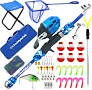 DaddyGoFish Kids Fishing Pole – Telescopic Rod & Reel Combo with Collapsible Chair, Rod Holder, Tackle Box