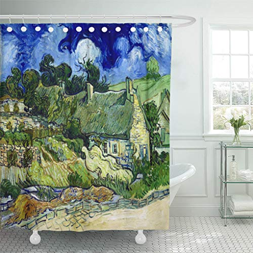 Semtomn Shower Curtain Blue Post Vincent Van Gogh Thatched Cottage at Colorful 72