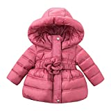 DAVE & BELLA Infant Baby Girls children Kids Dwn Jacket White Duck Down Padding Coat Hooded Outerwear Purple Pink 18M-7T (7T)