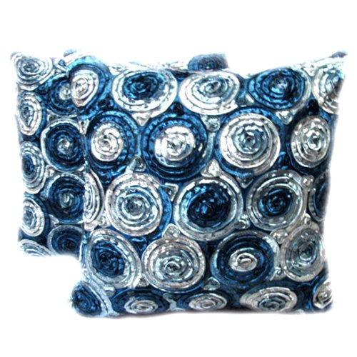 Beautiful, One Pair Two Tone 3d Bouquet of Blue Roses Throw Cushion Cover/pillow By Satin and Thai Silk for Decorative Sofa, Car and Living Room (Striped Banana Satin)