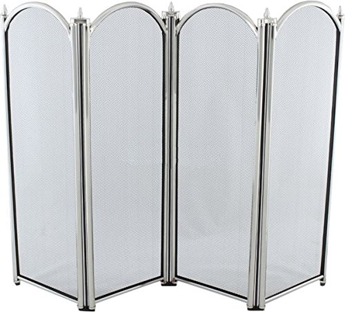 Black Country Metal Works 'Fallow Court' Large Nickel Four Fold Fire Screen Spark Guard 820mm x 315mm