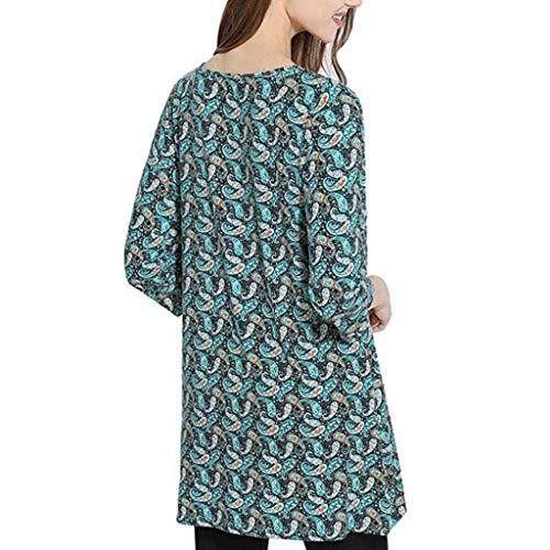 Longue Femmes Trydoit pour Manches Chic 3 Femme Tunique Chemise Bleu 4 886p7H