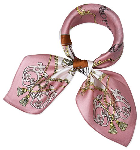 corciova Women 100% Mulberry Silk Neck Scarf Small Square Scarves Neckerchiefs Light Pink Carriage Chains Design