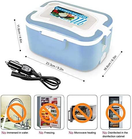 Fiambrera Electrica para Coche con Dos Compartimentos y Cuchara Bandeja Extra/íble de PP Port/átil Azul Calentador de Comida Electrico