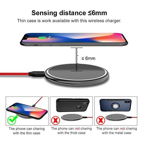 Cargador inalámbrico rápido, ICONFLANG 10w Cargador inalámbrico de carga rápida para Samsung Galaxy Note 8 S8 S8 Plus S7 Edge S7 S6 Edge + Note 5 y carga estándar para Apple iPhone X iPhone 8 iPhone 8 Classic Gray