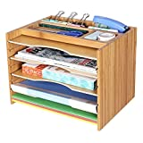 SONGMICS Bamboo File Organizer Sorter with 5 Adjustable Shelves, Top Storage Compartments UOFS44Y