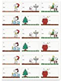 Peanuts Worldwide Snoopy and Woodstock Christmas Holiday Gift Tag Stickers, Set of 18