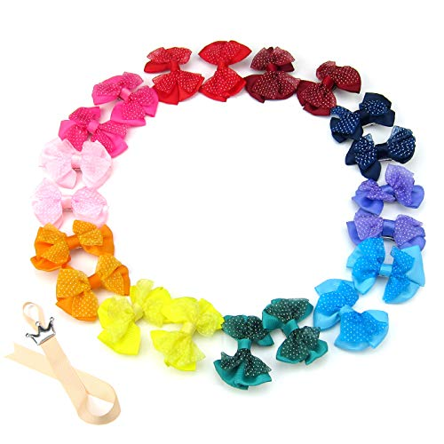 Alfie Pet - Amber Bow Hair Clip 20-Piece Set for Dogs, Cats and Small Animals (Amber Bows)