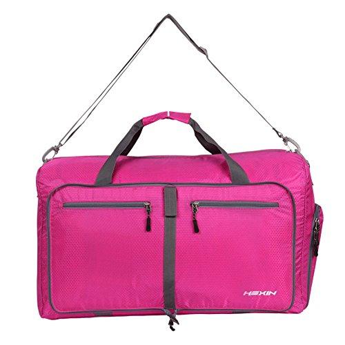 HEXIN Women and Men Travel Duffel Bag Foldable Lightweight Duffle Bags Pink Fuschia Duffle