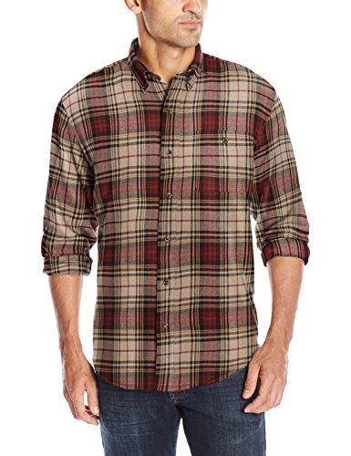 G.H. Bass & Co. Men's Fireside Flannel Long Sleeve Button Down Shirt, Oyster Gray Heather, Large from G.H. Bass & Co.