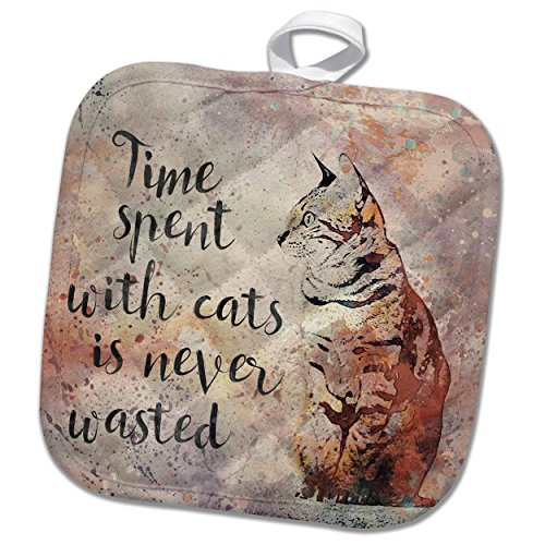 3dRose phl_264743_1 1 Pot Holder Illustration Watercolor Time Spend with Cats Is Never Wasted, 8 by 8'' by 3dRose